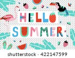 Hello Summer Poster with watermelon, toucan, flamingo and banana leaves. Vector illustration | Shutterstock vector #422147599