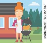 woman preparing barbecue. | Shutterstock .eps vector #422154487