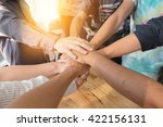group of people hands together... | Shutterstock . vector #422156131