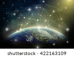 part of earth with network line ... | Shutterstock . vector #422163109