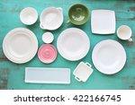different tableware on wooden... | Shutterstock . vector #422166745