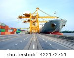 container  giant crane and... | Shutterstock . vector #422172751
