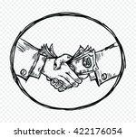 sketch of business handshake... | Shutterstock .eps vector #422176054