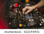 hand detail of a dj using the... | Shutterstock . vector #422193931