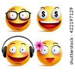 emoji yellow emoticons or... | Shutterstock .eps vector #422197129