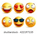 Smiley face icons or yellow emoticons with emotional funny faces in glossy 3D realistic isolated in white background. Vector illustration  | Shutterstock vector #422197135