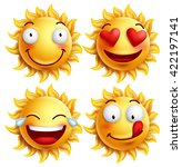sun face with funny facial... | Shutterstock .eps vector #422197141