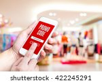 hand holding mobile phone with... | Shutterstock . vector #422245291