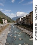 Small photo of TIRANO, ITALY-OCTOBER 2, 2012: Tirano is a town what adjacent to the Switzerland-Italy boundary. The river Adda flows through the town. View to the city of Tirano on 2 October 2012, Italy.