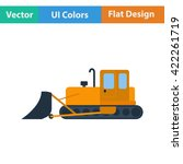 flat design icon of  bulldozer...