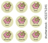 piggy bank vector icon set