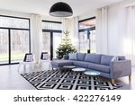 spacious living room with large ... | Shutterstock . vector #422276149