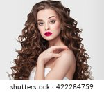 curly hair woman portrait long... | Shutterstock . vector #422284759
