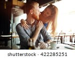 beautiful man and woman flirt... | Shutterstock . vector #422285251