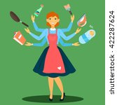 successful housewife.... | Shutterstock .eps vector #422287624