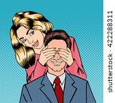 woman closing her man eyes.... | Shutterstock .eps vector #422288311