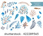watercolor frame with leafs and ... | Shutterstock . vector #422289565