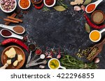 herbs  condiments and spices on ... | Shutterstock . vector #422296855