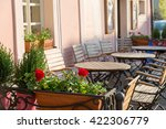 cozy outdoor cafe in early... | Shutterstock . vector #422306779