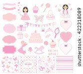 birthday party and girl baby... | Shutterstock .eps vector #422318089
