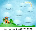 surreal landscape with hanging... | Shutterstock .eps vector #422327377