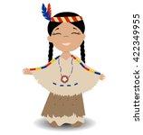 native american indian girl....   Shutterstock .eps vector #422349955