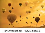 hot air balloons flying over... | Shutterstock . vector #422355511