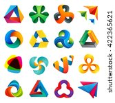 triangle design icon set.... | Shutterstock .eps vector #422365621
