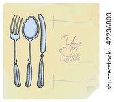 menu list with cutlery | Shutterstock .eps vector #42236803