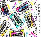 pop audio background. cassette... | Shutterstock .eps vector #422372224