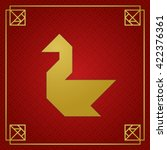 golden tangram swan on red... | Shutterstock .eps vector #422376361