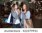 beautiful girls with eating ice ... | Shutterstock . vector #422379931