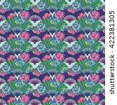 pattern oriental fan decorated... | Shutterstock .eps vector #422381305