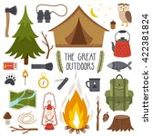 vector set of camping elements. ... | Shutterstock .eps vector #422381824