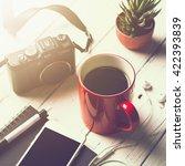 cup of coffee  smart phone ... | Shutterstock . vector #422393839