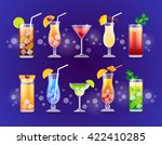 alcohol cocktail set glasses... | Shutterstock .eps vector #422410285
