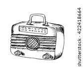 retro wooden radio. sketchy... | Shutterstock .eps vector #422418664