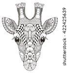 Giraffe Head Zentangle Stylize...
