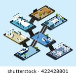 isometric abstract scheme with... | Shutterstock .eps vector #422428801