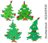 collection of christmas firs.... | Shutterstock .eps vector #422435935