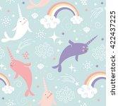 narwhal pattern art print | Shutterstock .eps vector #422437225