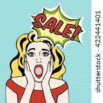 screaming woman pop art. scared ... | Shutterstock .eps vector #422441401