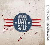 memorial day sale emblem with... | Shutterstock .eps vector #422446171