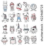 Stock vector set of different cute animals bear rabbit cat owl unicorn and monster 422468725