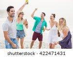 group of happy friends dancing... | Shutterstock . vector #422471431