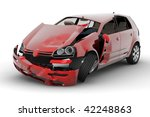 A Red Car Accident Isolated On...