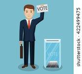 businessman vote at transparent ... | Shutterstock .eps vector #422499475