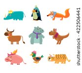 animals in human clothes set of ... | Shutterstock .eps vector #422506441