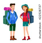 camping characters. morning... | Shutterstock .eps vector #422528737