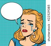 emoji retro tears cry girl... | Shutterstock .eps vector #422529385